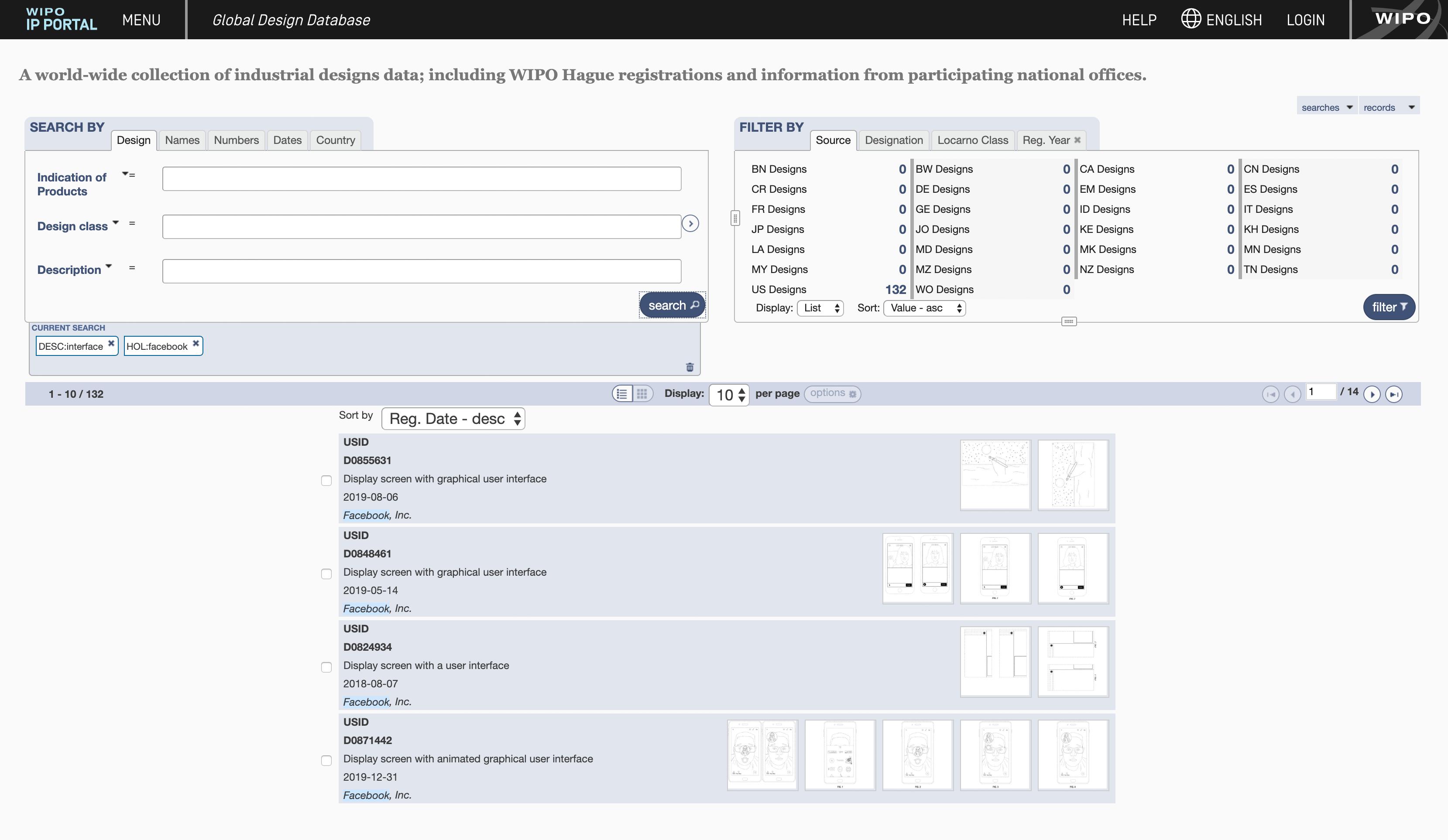 Чтобы посмотреть, какие интерфейсы запатентованы у Фейсбука, нужно открыть Глобальную базу данных промышленных образцов и указать Facebook в поле Holder и interface в поле Description. Всего у Фейсбука сейчас 126 патентов на интерфейс