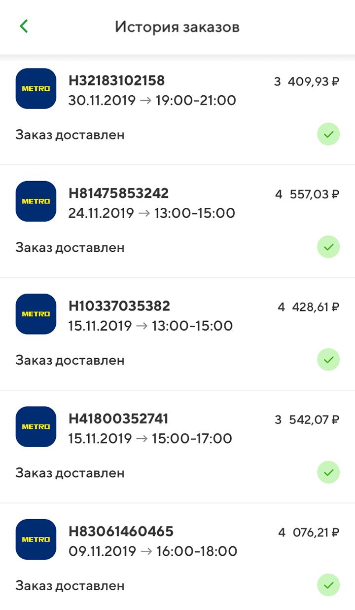 Для&nbsp;примера, вот мои заказы в «Метро» в ноябре 2019&nbsp;года: в неделю на продукты и бытовую химию уходит 3500—4500<span class=ruble>Р</span>