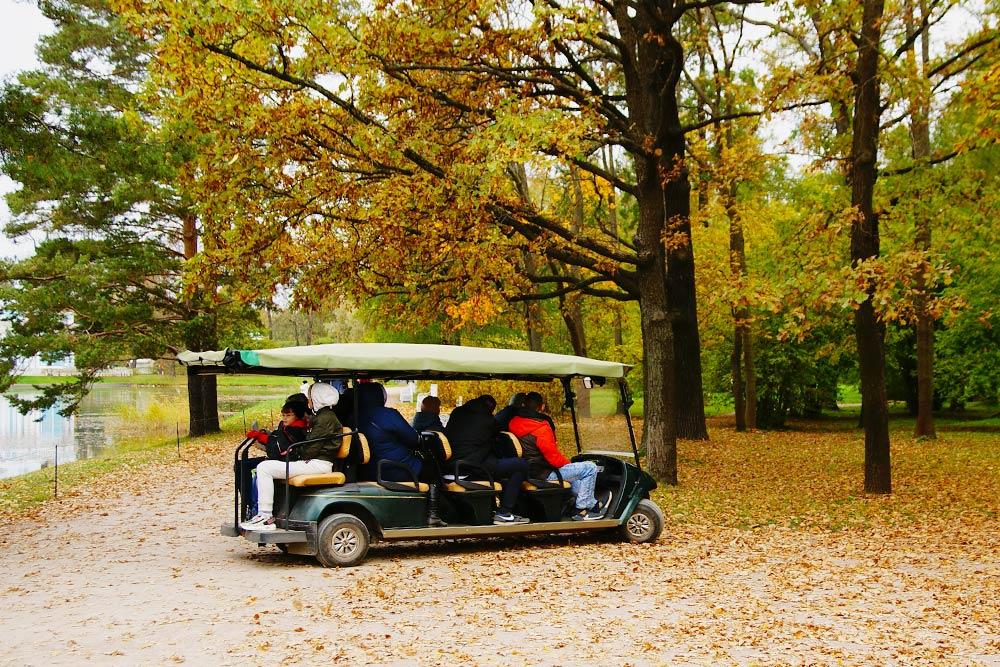Парк можно объехать с&nbsp;экскурсией на&nbsp;такой машинке. Поездка стоит 250&nbsp;<span class=ruble>Р</span>