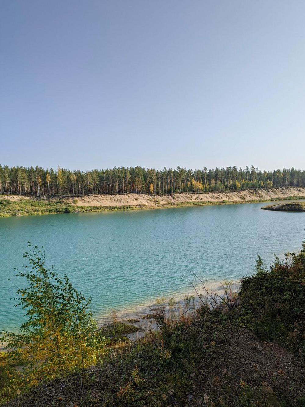 Лет 15 не ездила в Заходское, было очень неожиданно обнаружить вместо привычного леса озеро надне нового карьера. Интересно, что совсем рядом есть обычное лесное озеро с торфяной водой, авэтом — прозрачная, голубая. Но, видимо, все это было выкопано уже давно, вновом озере водятся окуни, парочка которых крутилась уберега