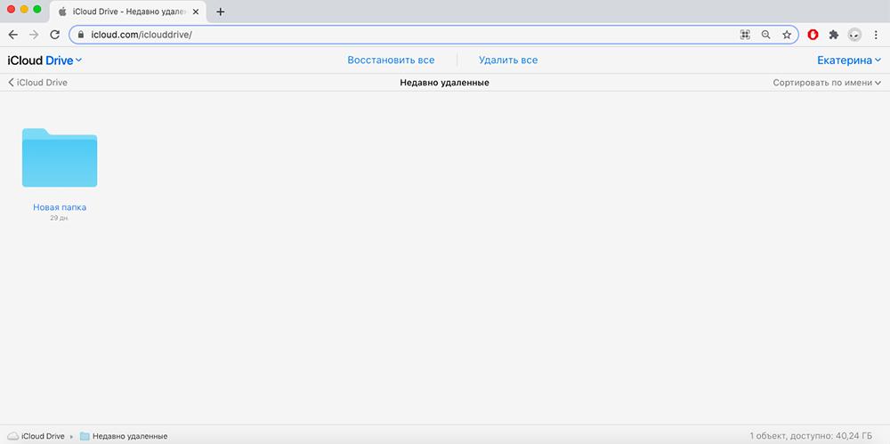 Заходим на сайт icloud.com → iCloud Drive → «Недавно удаленные»