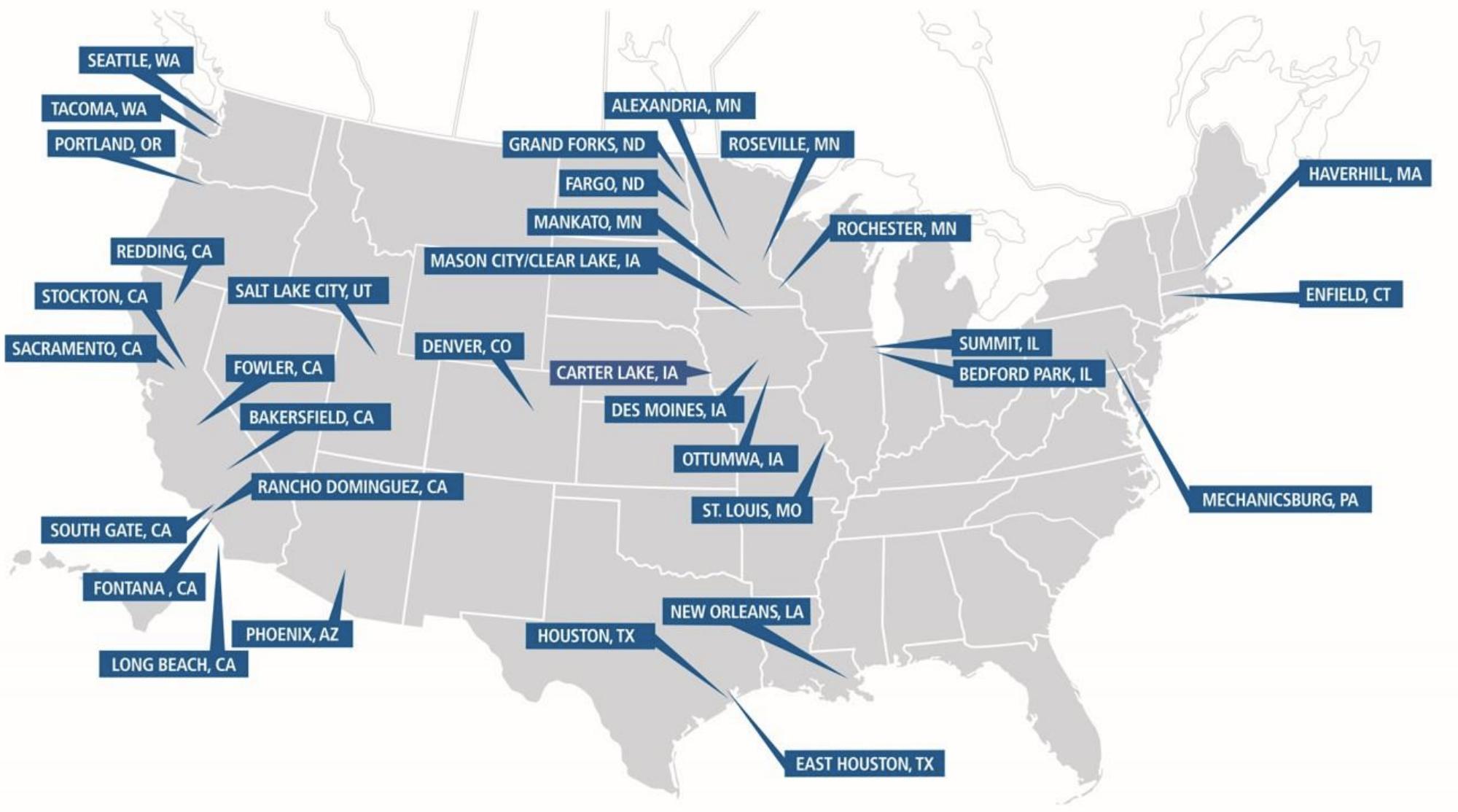 Сеть терминалов компании в США. Источник: презентация компании, слайд81