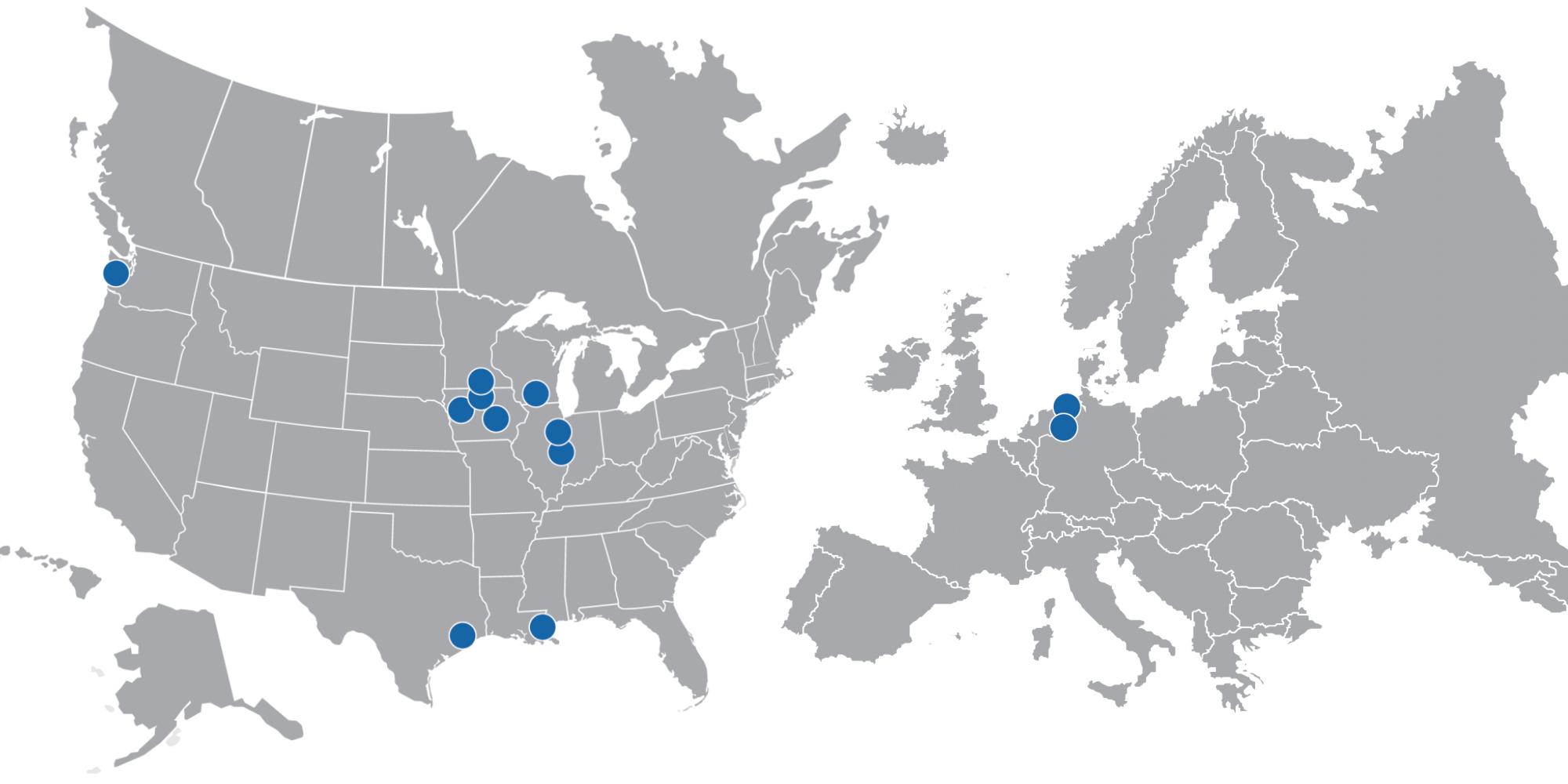 Перерабатывающие заводы компании в США и Германии. Источник: презентация компании, слайд17