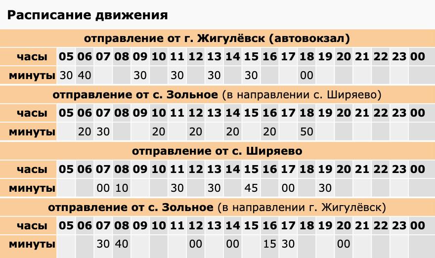 Расписание автобуса №9 по маршруту Жигулевск — Ширяево