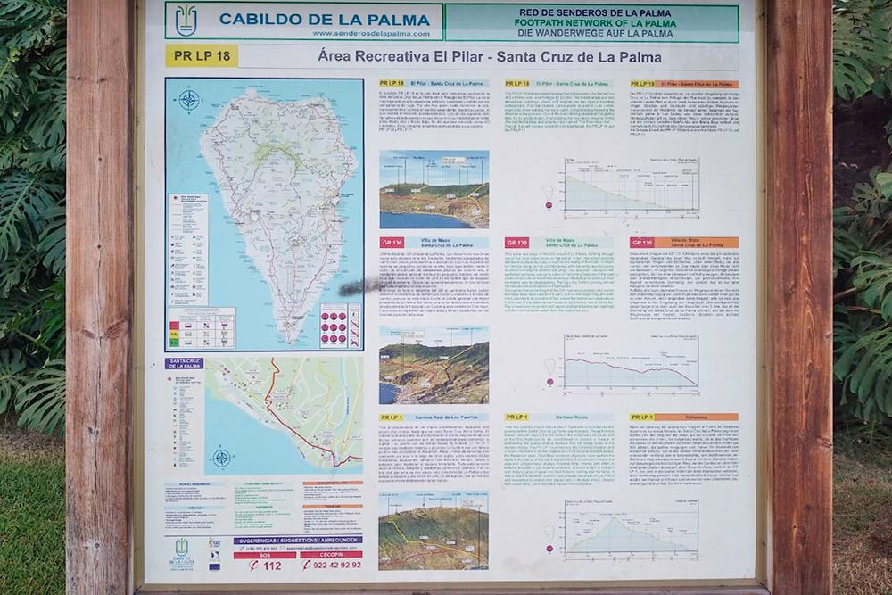 Информационные надписи длятуристов на испанском, английском и немецком языках