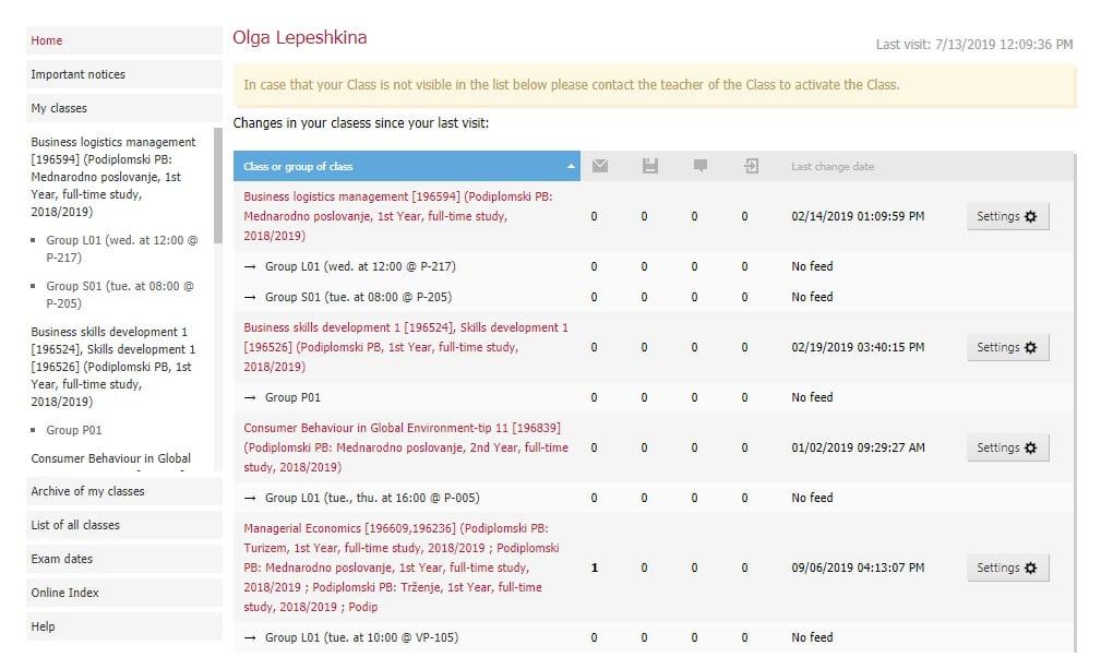 Моя страница в интранете: список классов и групп