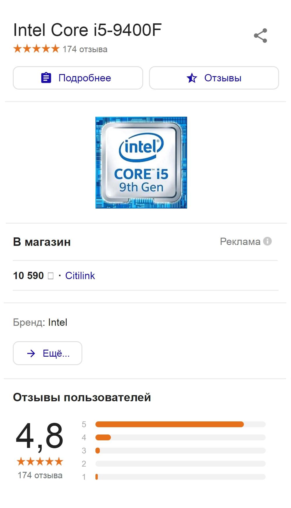 Примерные цены на мой процессор в разных интернет-магазинах