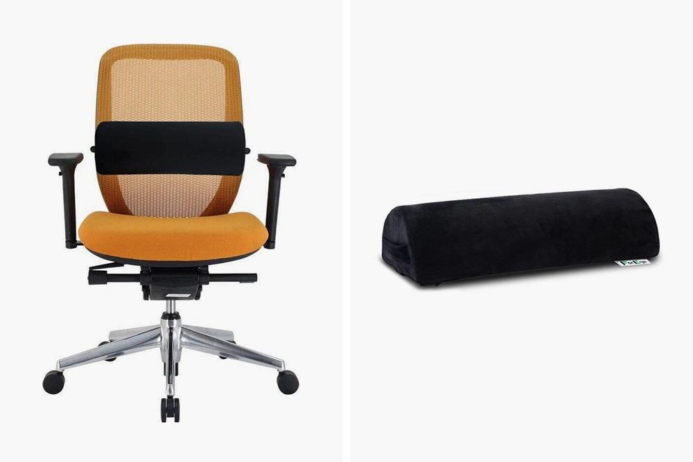 Валик под&nbsp;поясницу ForErgo крепится на кресло с помощью ремешка, 1390<span class=ruble>Р</span>. Источник: «Озон»