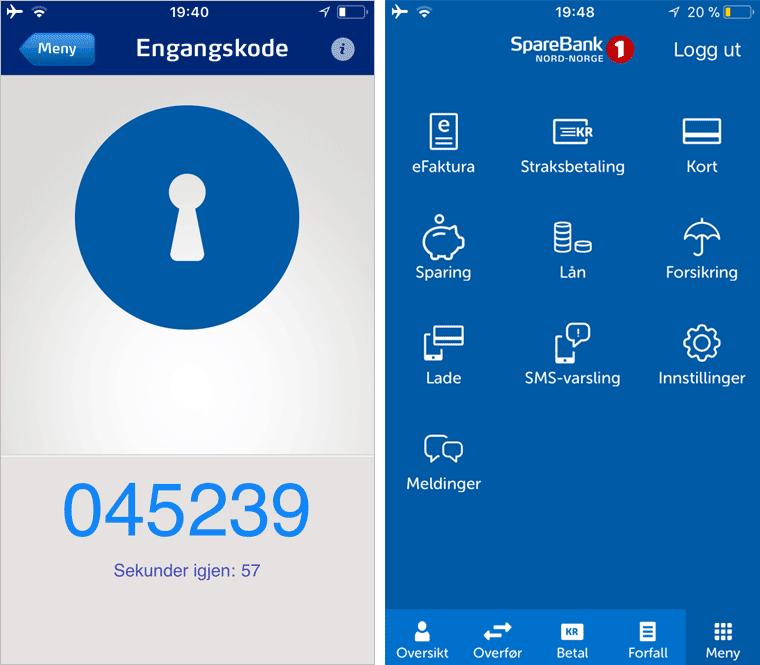 Программа для получения разового пароля и главное меню приложения «Спаребанк»