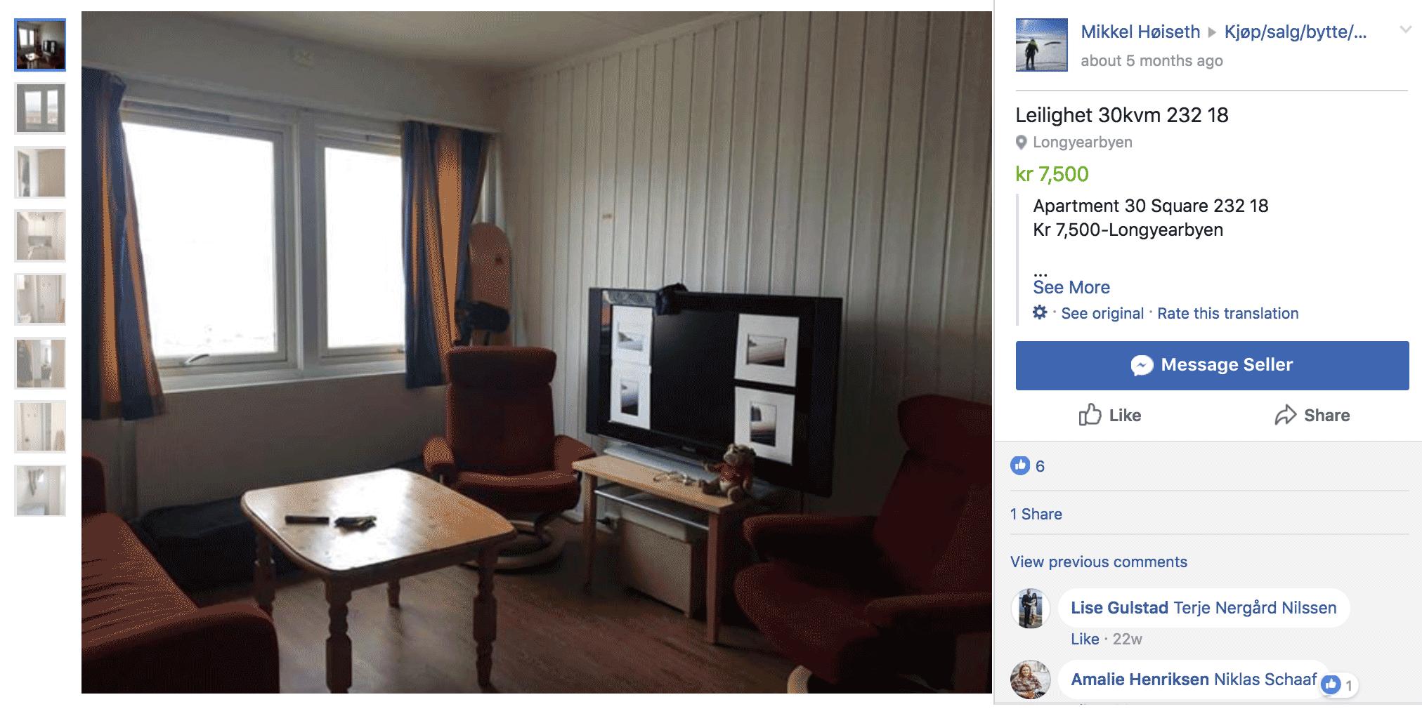Вот такую небольшую квартиру сдают в Фейсбуке за 7500 крон в месяц