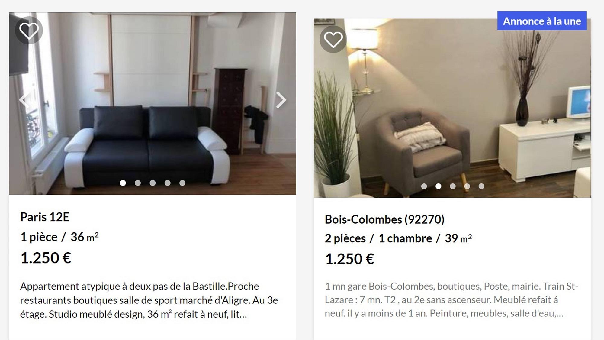 Примеры жилья. Слева квартира сосвежим ремонтом вцентре Парижа, справа — вотдаленном пригороде. Изобщественного транспорта туда ходит только поезд. Цена одинаковая, аметраж отличается
