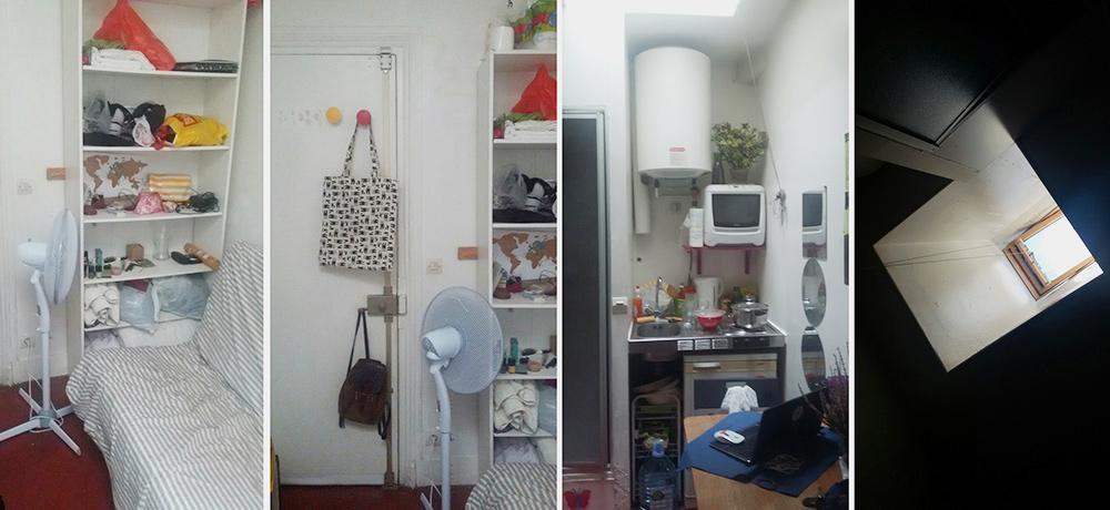 Это та самая квартира площадью 8м² напоследнем этаже. Подкрышей жарко, поэтому летом было тяжело безвентилятора. Ширина кухни — 90см. Рядом сней, возле дивана, была дверь вдуш. Окно находилось впотолке, высоко втолще крыши. Если я забывала его закрыть, тово время дождя квартиру начинало затапливать