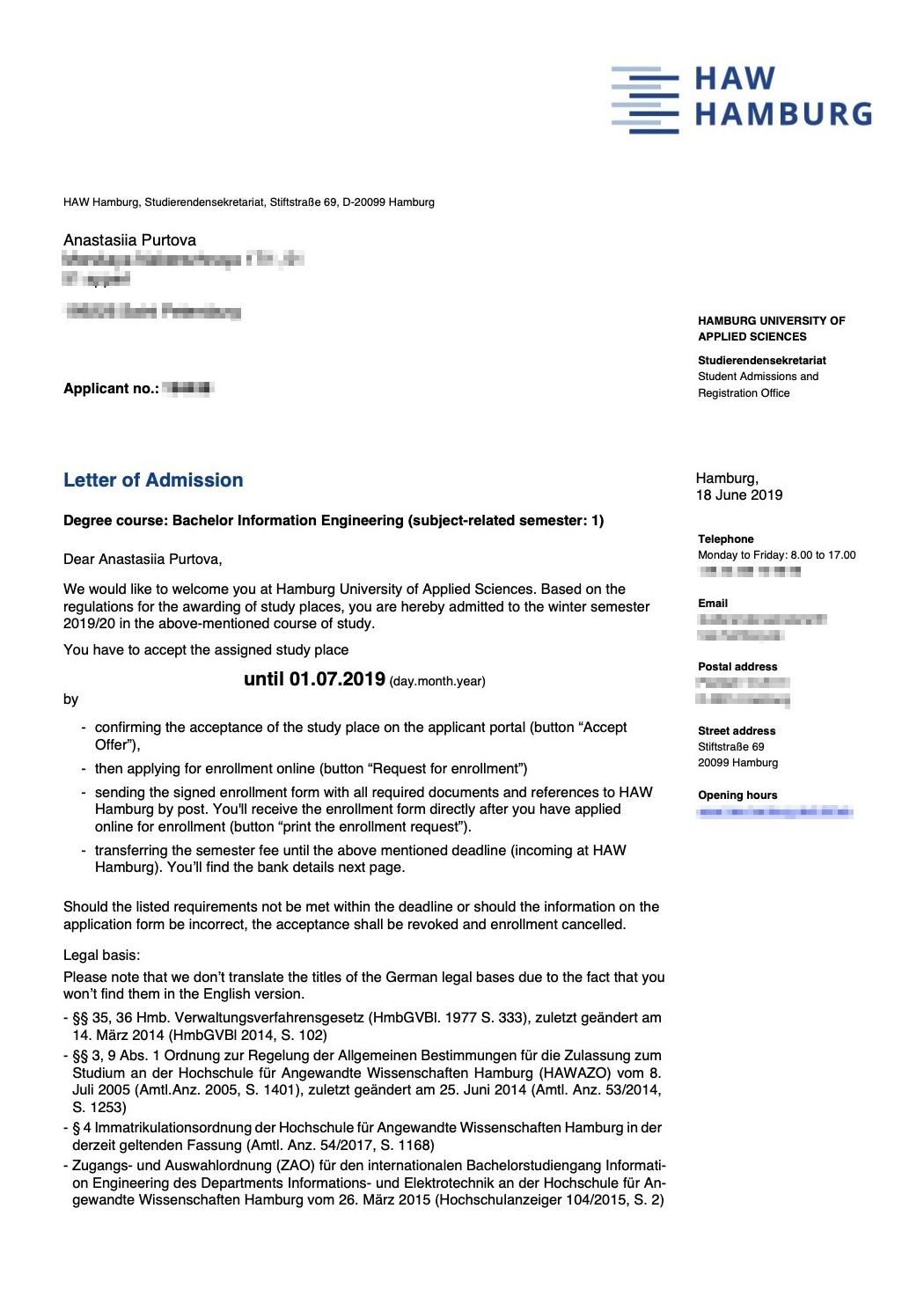 Письмо-приглашение от Гамбургского университета прикладных наук суказанием дальнейших шагов длязакрепления статуса студента