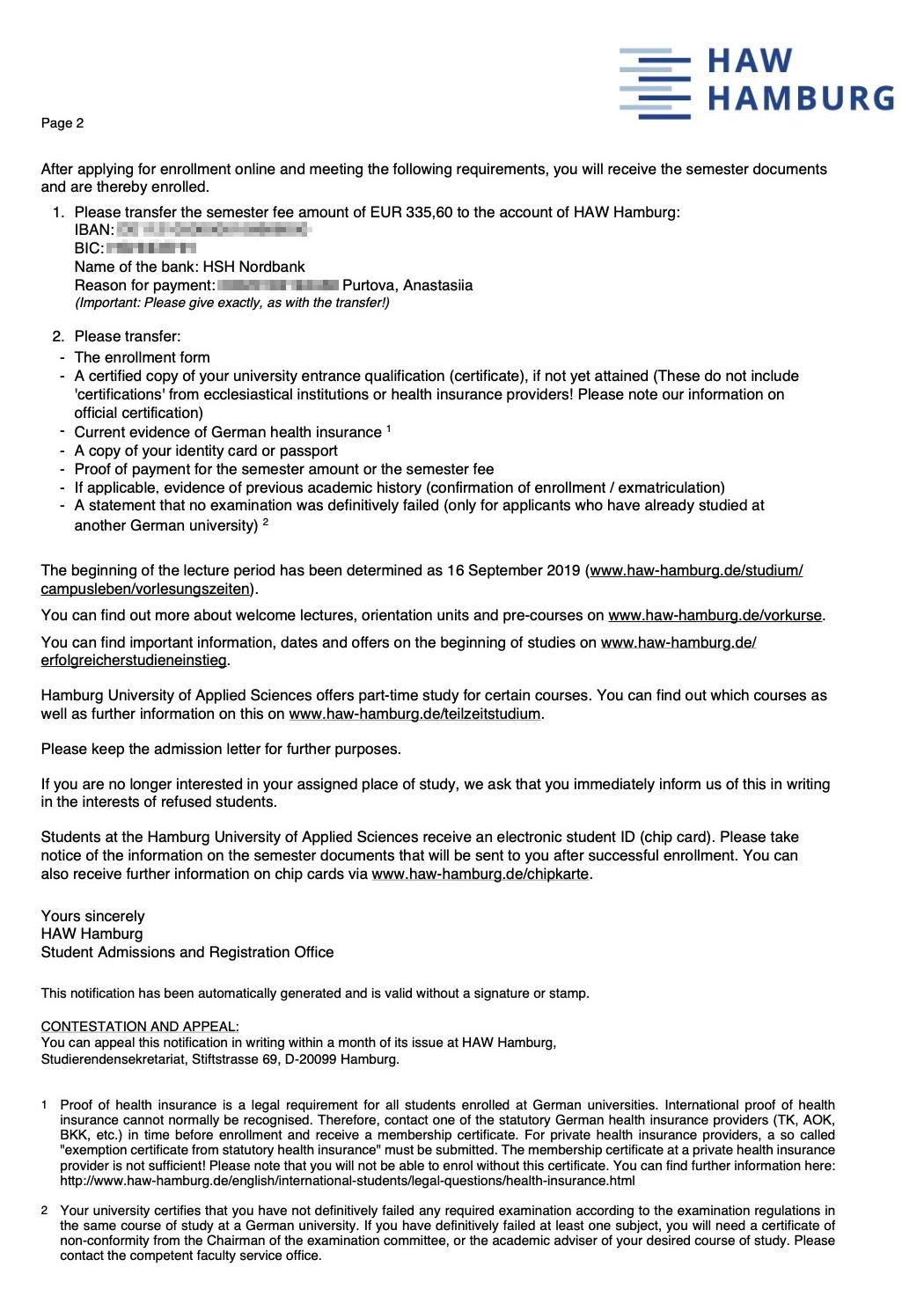 Письмо-приглашение отГамбургского университета прикладных наук суказанием дальнейших шагов длязакрепления статуса студента