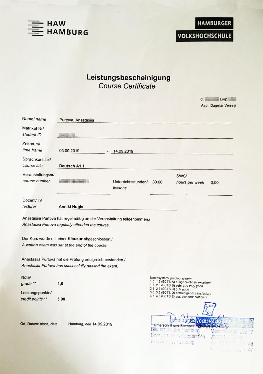 Мой сертификат обокончании интенсивного курса понемецкому языку