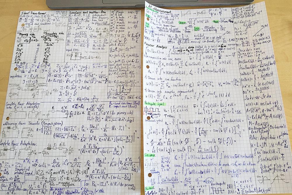 На экзамен разрешено брать до восьми листов формул, написанных вручную. Так выглядит моя шпаргалка по электротехнике