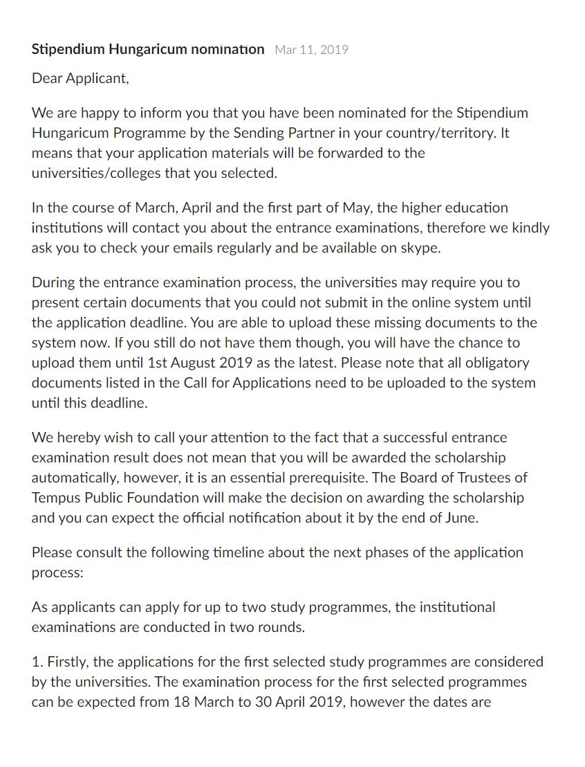Письмо о номинации настипендию Stipendium Hungaricum негарантирует получение стипендии — нужно еще поступить вуниверситет