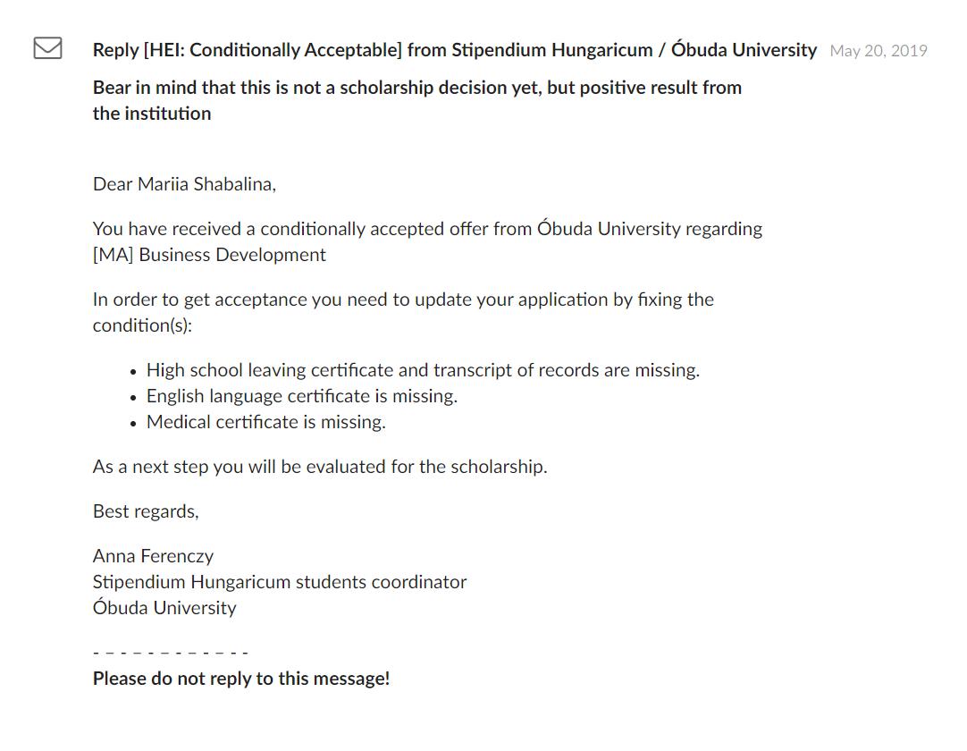 Письмо об условном принятии в Обудский университет тоже пришло в личный кабинет на сайте Stipendium Hungaricum. В нем указана моя фамилия уже после замужества