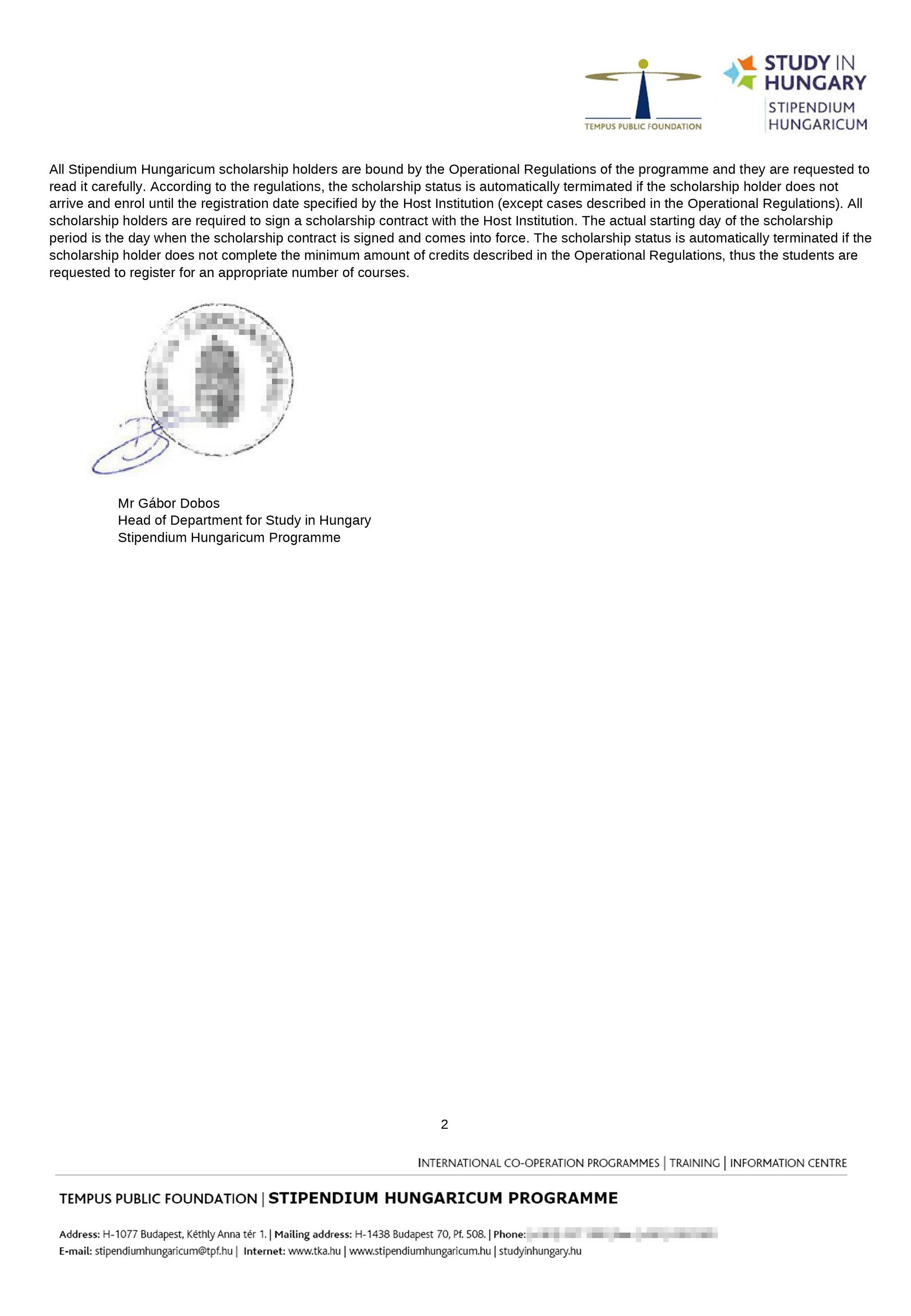 А это письмо ополучении стипендии Stipendium Hungaricum