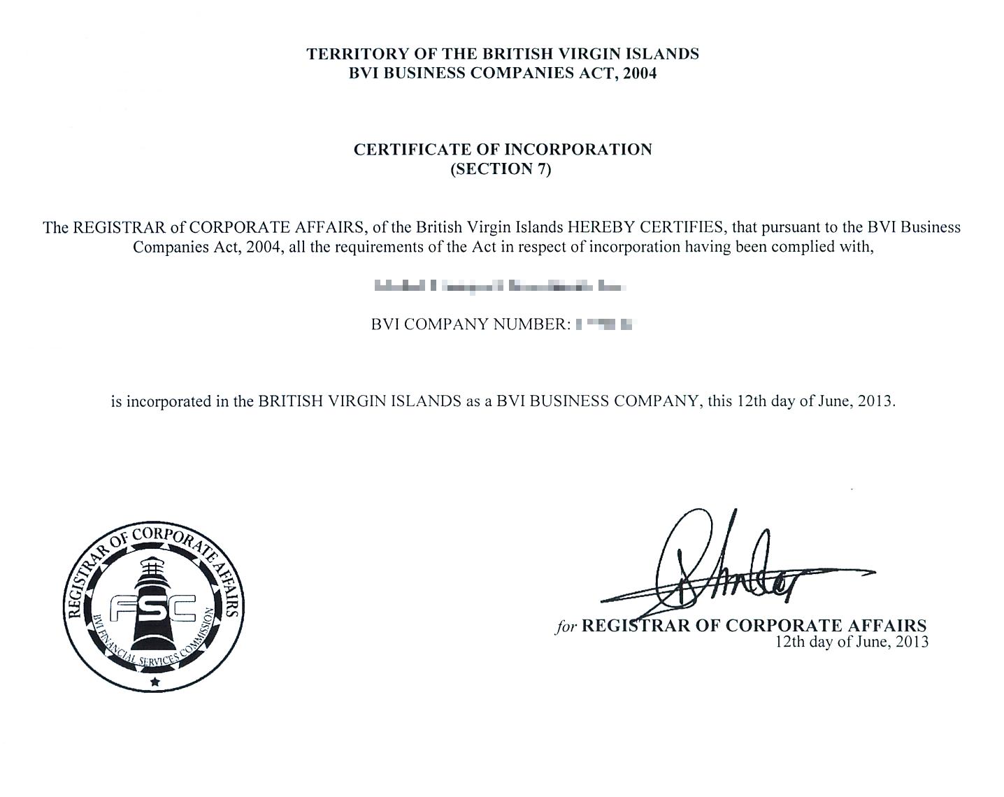 Свидетельство о регистрации компании на территории Британских Виргинских островов. Если такой документ нужно представить в российский суд, его придется апостилировать и перевести на русский язык