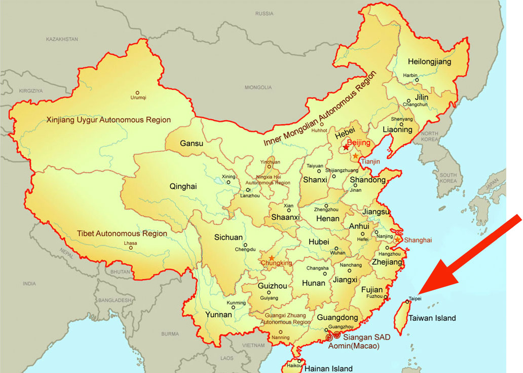 На многих картах Тайвань до сих пор считается частью Китая