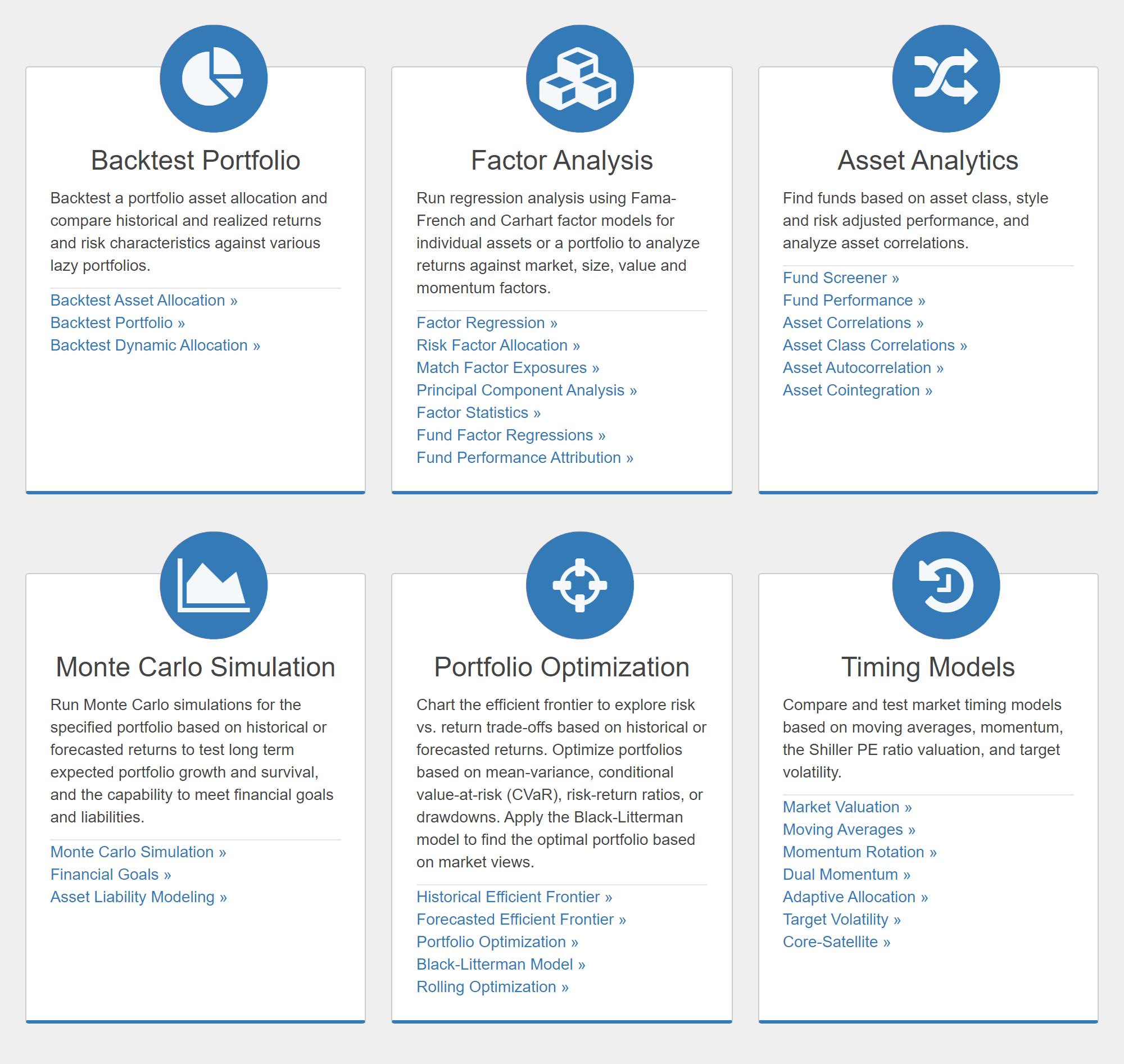 6разделов сервиса Portfolio Visualizer дляпрофессионального анализа портфеля. Насинтересует первый