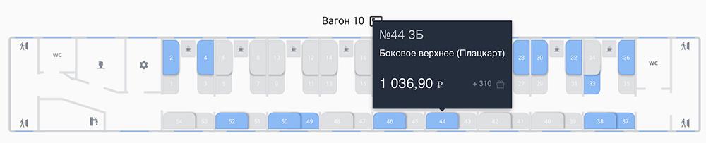Разницу в стоимости видно привыборе места во время покупки билета. Источник: Rzd.ru