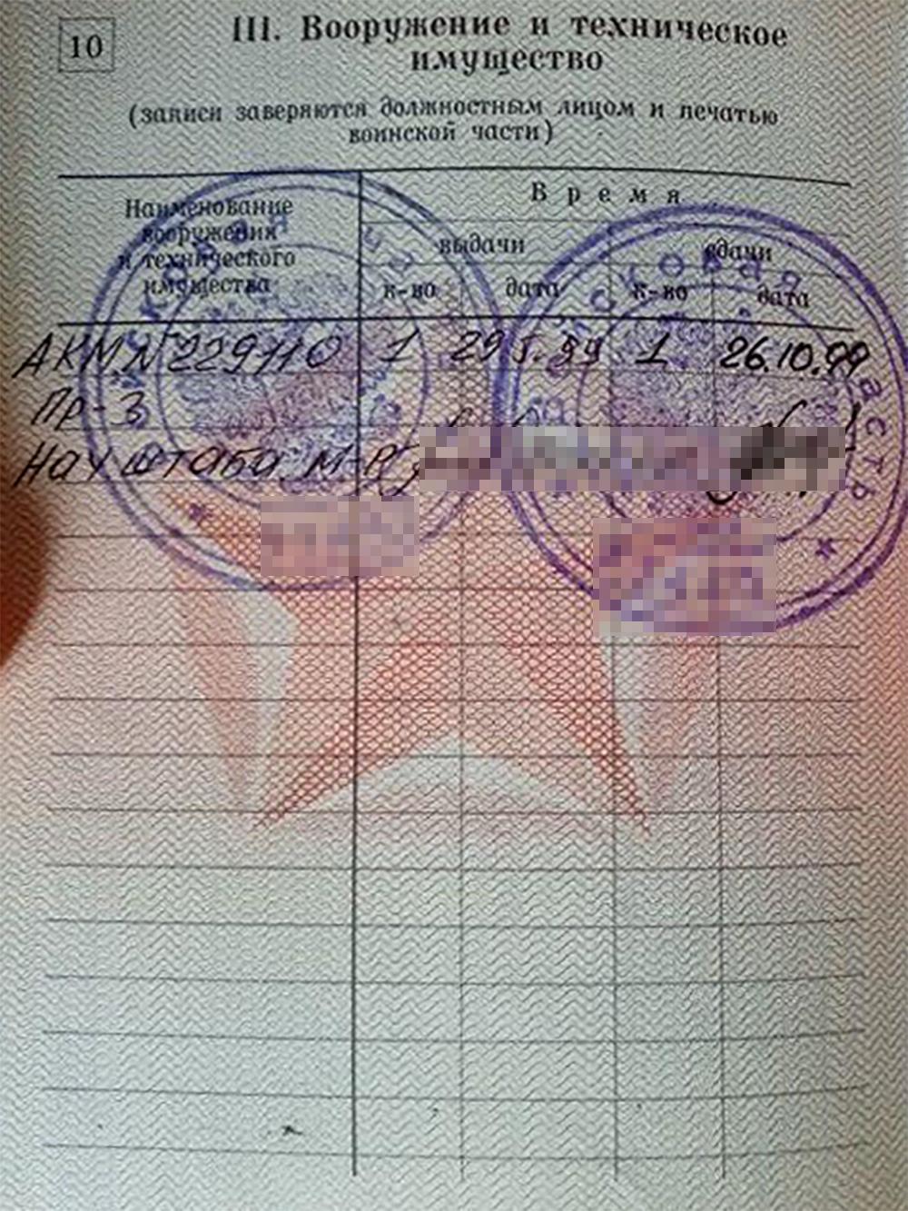 В моем военном билете указаны номер автомата, дата выдачи и сдачи. После того как автомат сдан — носить его на основании военного билета уже нельзя