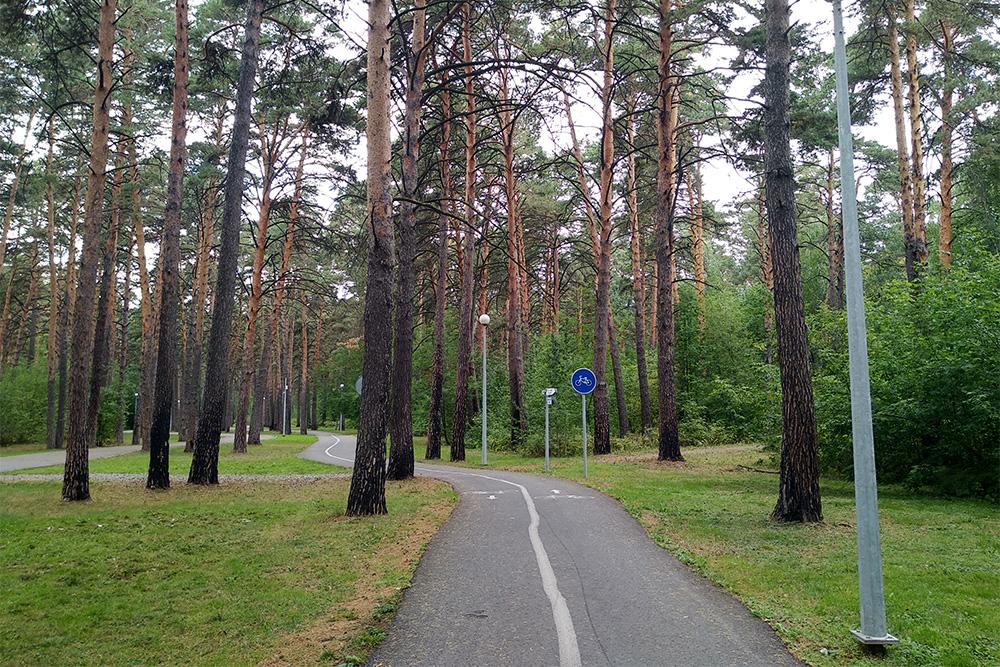 Вроще есть асфальтированные велодорожки, номожно кататься ипотропинкам