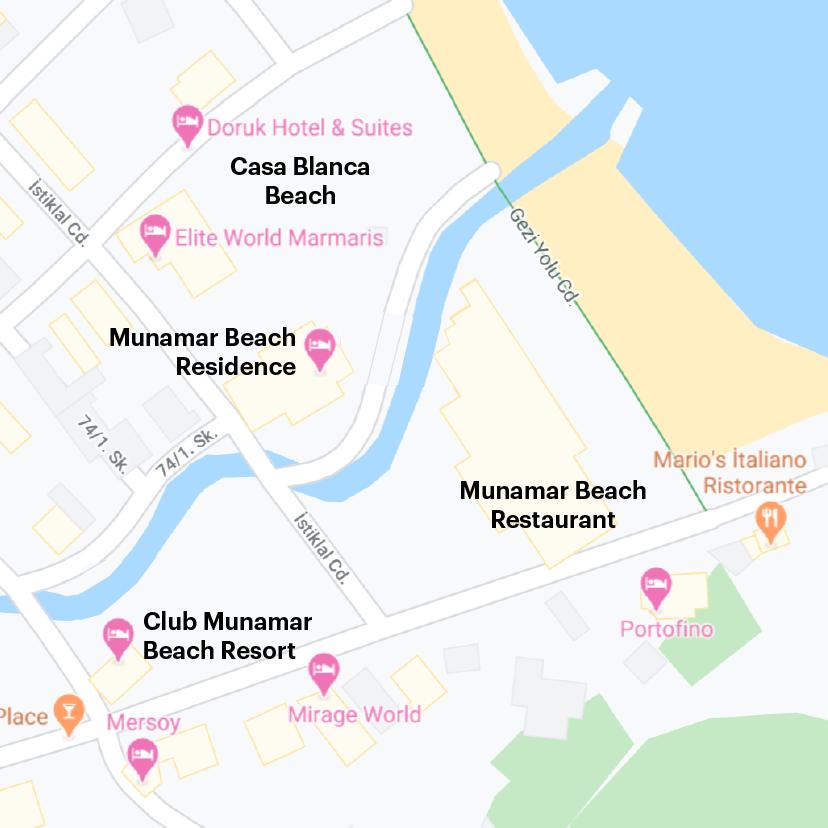 Схема наших перемещений по отелям. По договору нас должны были разместить в Club Munamar Beach Resort, но в итоге заселили в Munamar Beach Residence. Мы должны были пользоваться инфраструктурой отеля Munamar Beach Restaurant, но его закрыли за долги. В итоге мы ходили питаться в трехзвездочный отель Casa Blanca Beach