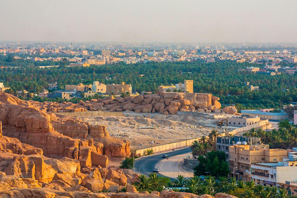 Вид на город и зеленые финиковые рощи Аль-Ахсы