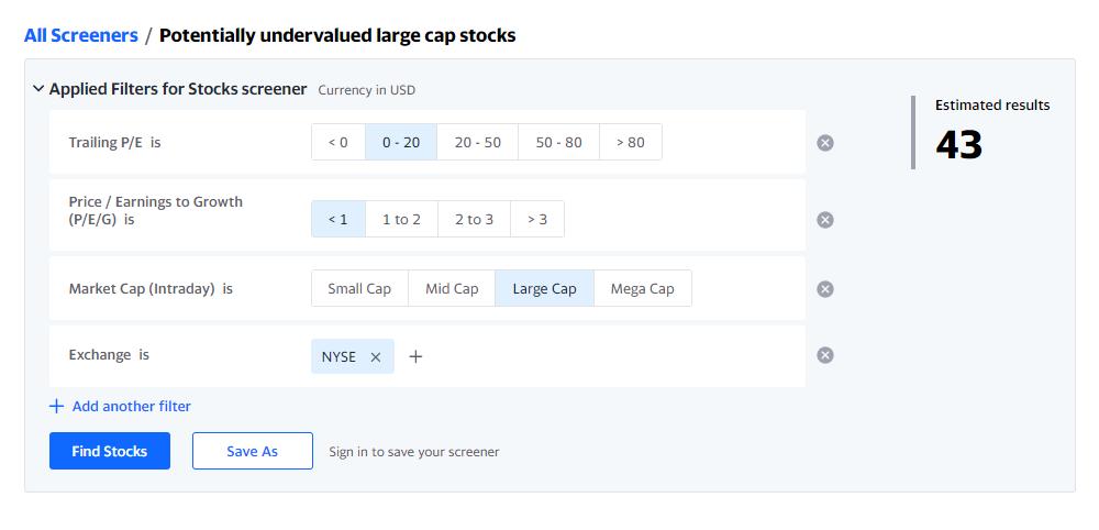 Например, готовый скринер от Yahoo дляпоиска потенциально недооцененных крупных американских компаний состоит из четырех фильтров: Trailing P/E в диапазоне 1—20; NYSE — Нью-Йоркская биржа или Nasdaq — американская биржа высокотехнологичных компаний; Large Cap — большая капитализация; PEG <1. Чтобы уменьшить выборку, я оставила только биржу NYSE и получила 43компании