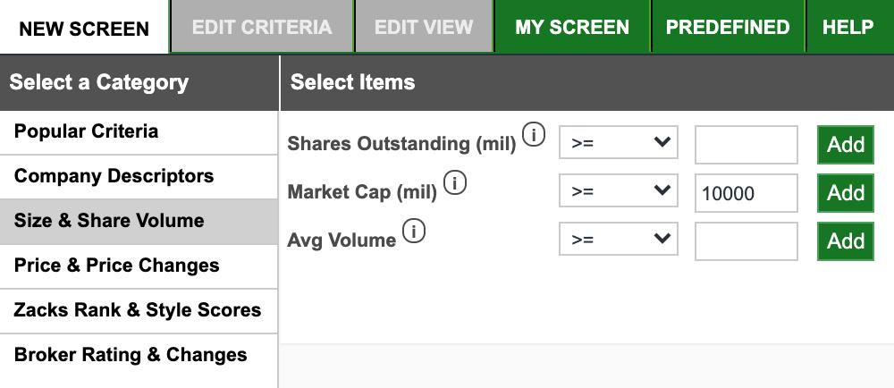Теперь зайдите в раздел Size &Share Volume и задайте значение рыночной капитализации — MarketCap