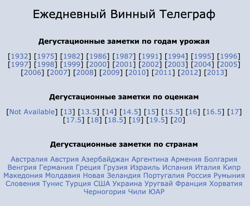 В блоге Дениса Руденко можно найти заметки по годам урожая, оценкам и странам
