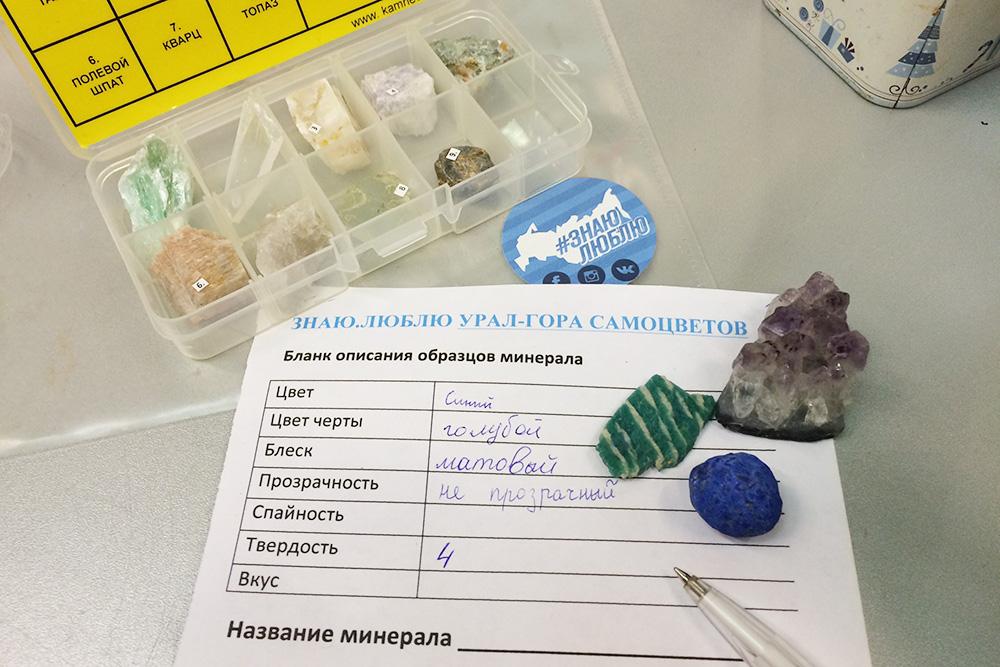 Это реквизит для программы «Урал — гора самоцветов». На бланке — бирюзовый амазонит, синий лазурит и серо-фиолетовый аметист. Часть камней привезена из экспедиций, а часть куплена в «Камневеде»