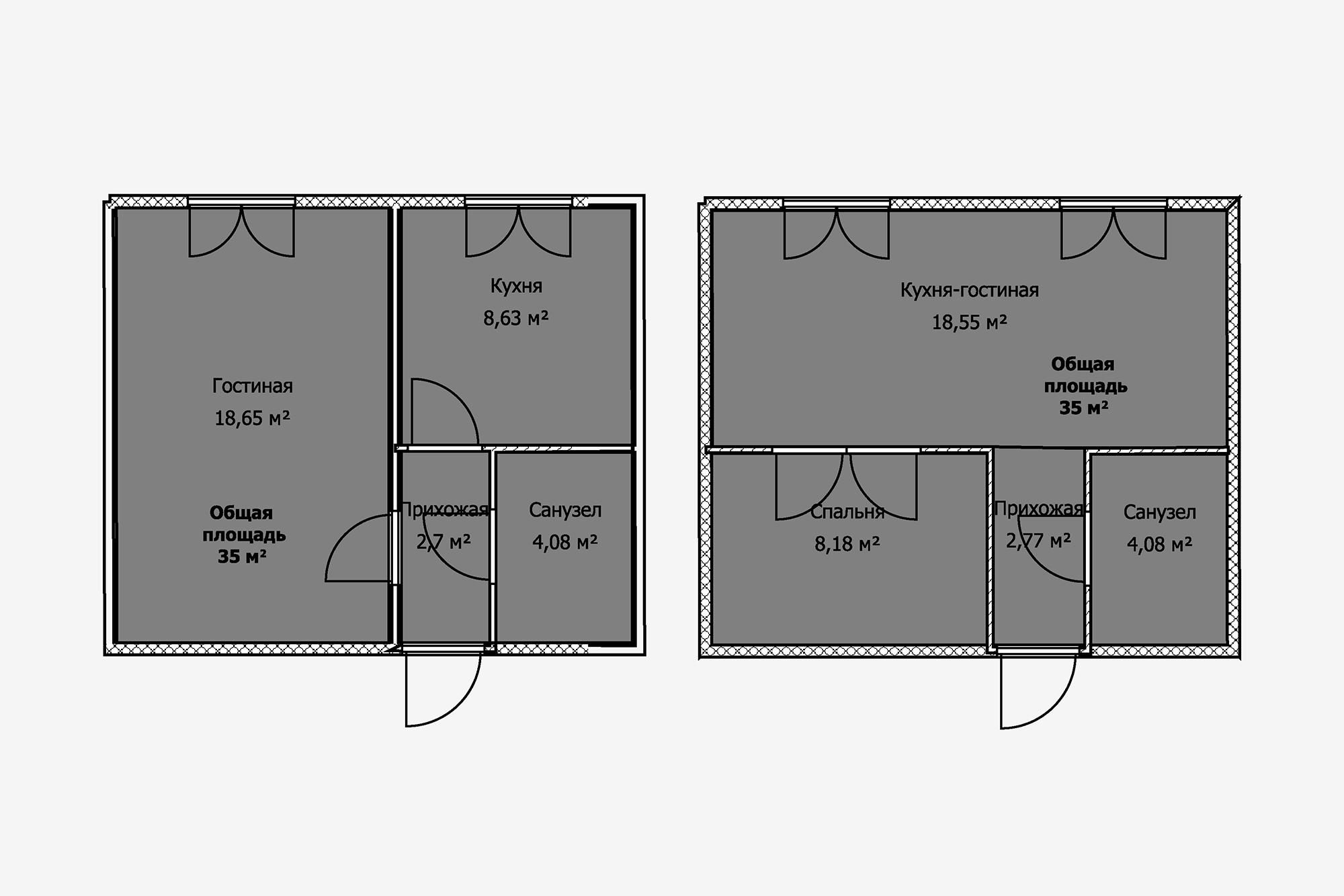 Втиповой однушке площадью 35м²можно объединить кухню игостиную, азатем выделить небольшую спальню. Ноесли стены несущие, толюбая перепланировка недопустима. Вэтом случае владельцам, скорее всего, придется спать нараскладном диване