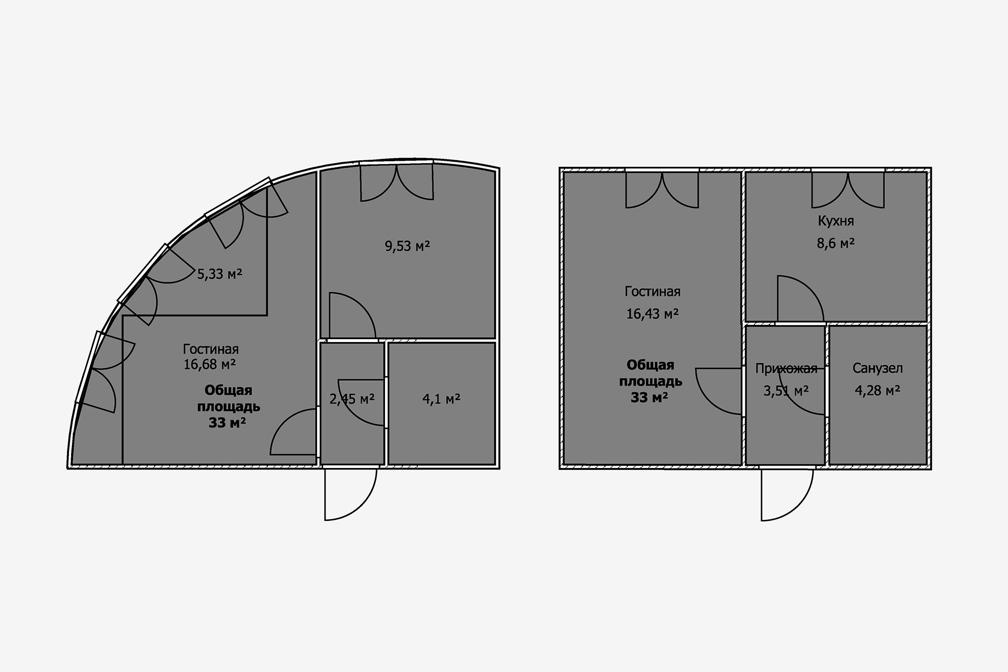 Площадь обеих квартир одинакова— 33м². Новпервой зону возле окон невозможно использовать, туда непоставить мебель. Эти пять квадратных метров создают ощущение простора, нозаних придется переплатить. Вовторой квартире даже можно разделить гостиную надве зоны иустановить полноценную кровать