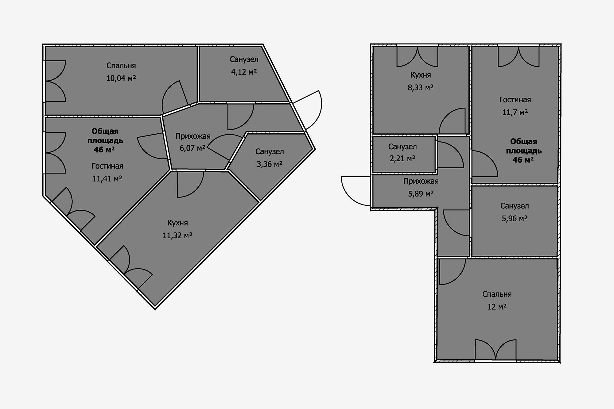 Впервой квартире почти все помещения пятиугольные, ипрямых углов вних мало. Из-за этого будет сложно найти место для крупных предметов мебели: кухонного гарнитура, шкафа вспальне, дивана вгостиной. Неговоря уже осанузлах. Часть мебели наверняка придется делать назаказ. Вквартире стакойже площадью— 46м²,— ноболее традиционной планировкой таких проблем небудет