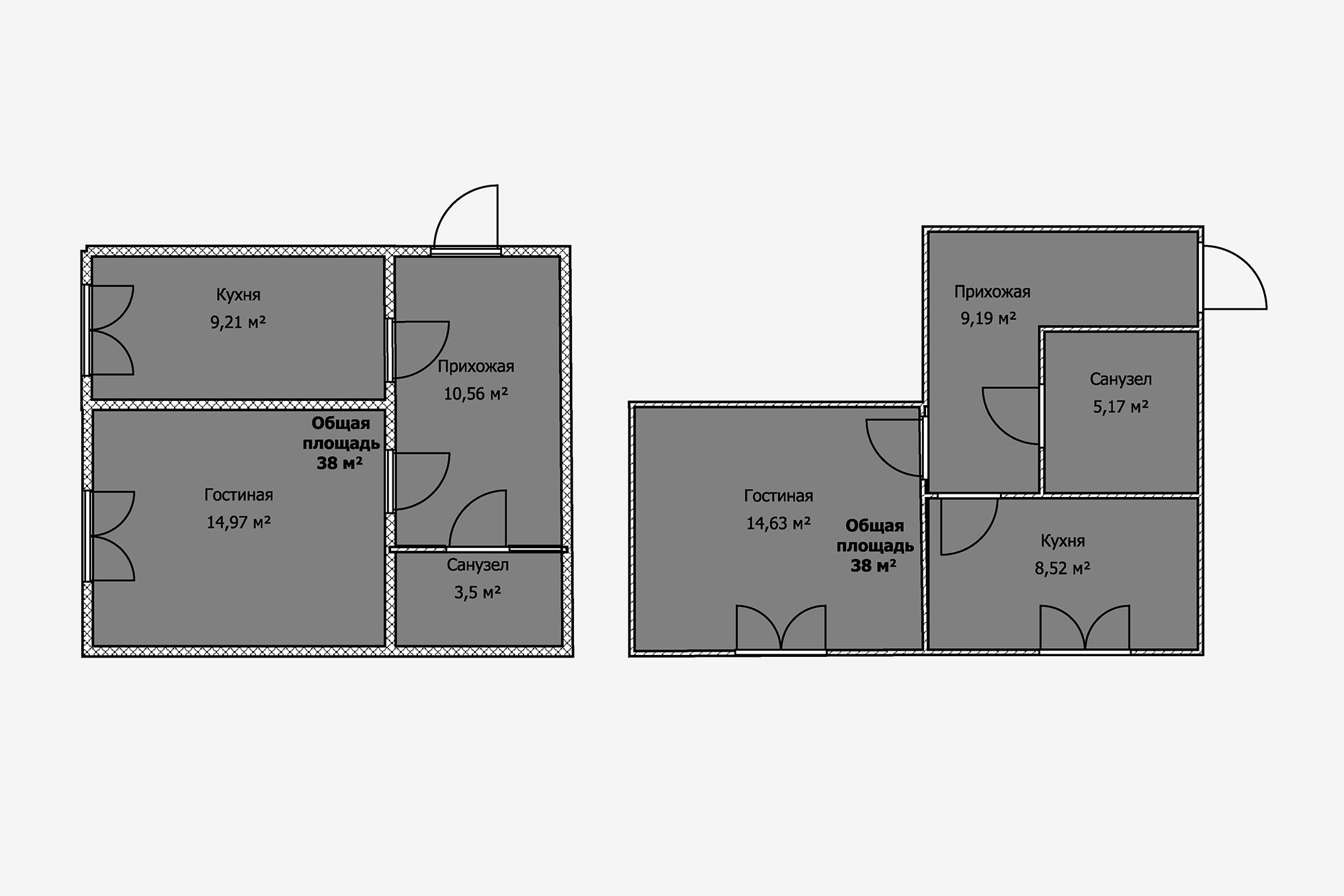 Вобеих квартирах коридор занимает около четверти всей площади. Впервом случае присоединить его ккомнатам нельзя из-за несущих стен, вовтором— из-за санузла. Конечно, можно установить вхолле шкаф вовсю стену, новсеравно такой размер технического помещения неоправданно велик