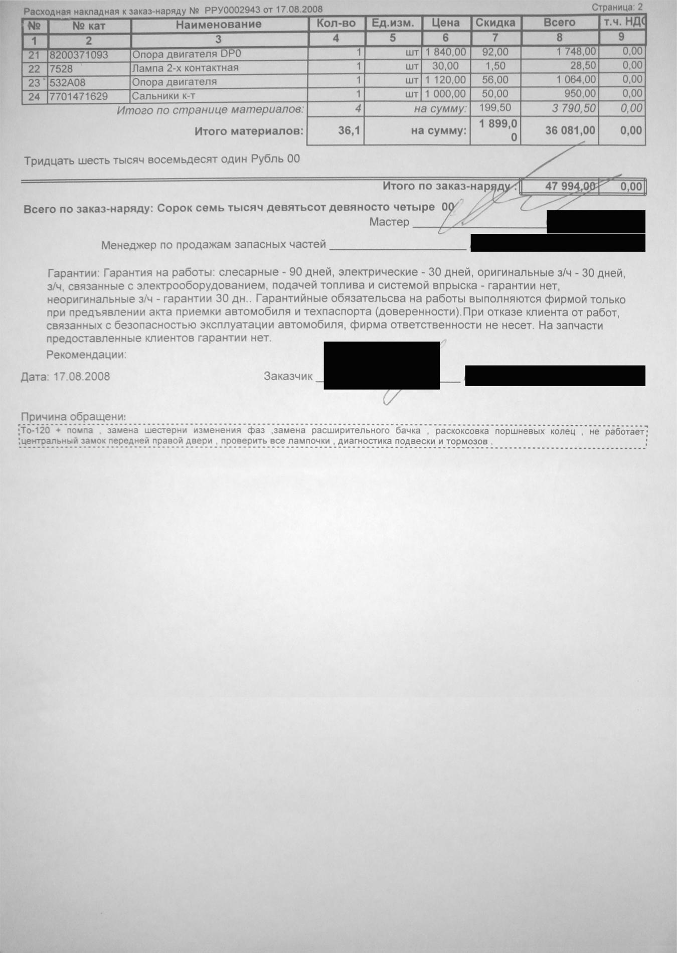 Среди запчастей значится ремень приводной стоимостью 361 рубль