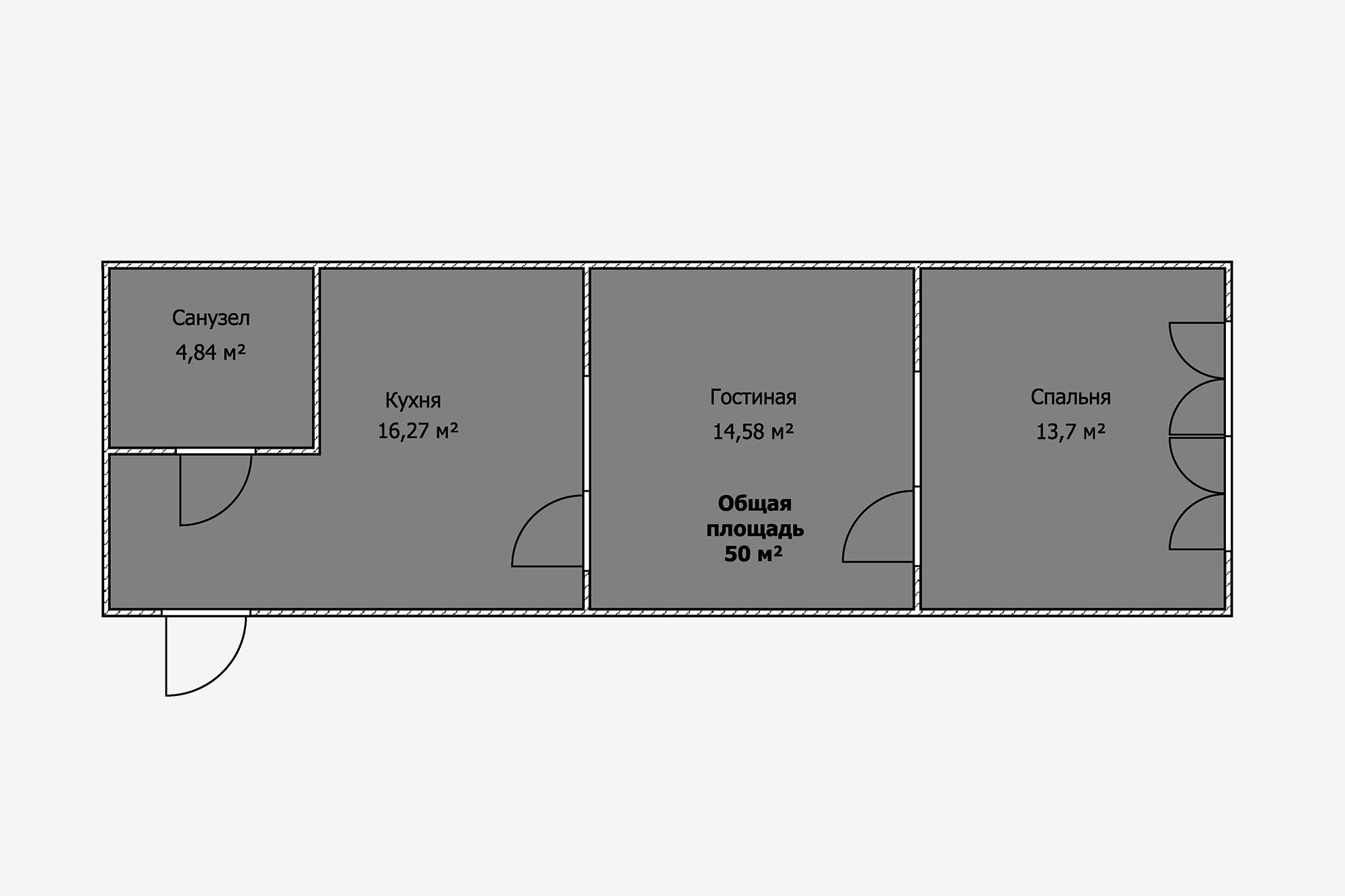 Эта планировка кажется нереальной: на50м²приходится всего одно окно, амежду комнатами полупрозрачные стены. Нотакая квартира действительно существует. Завремя работы интерьерным журналистом ничего хуже яневстречала