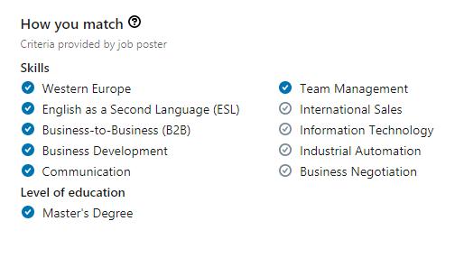 Когда открываете вакансию, сайт автоматически сверяет ваши навыки с требованиями работодателя. Вот я зашла в вакансию руководителя отдела продаж. Оказалось, что я почти подхожу: 7 из 11 навыков совпадают