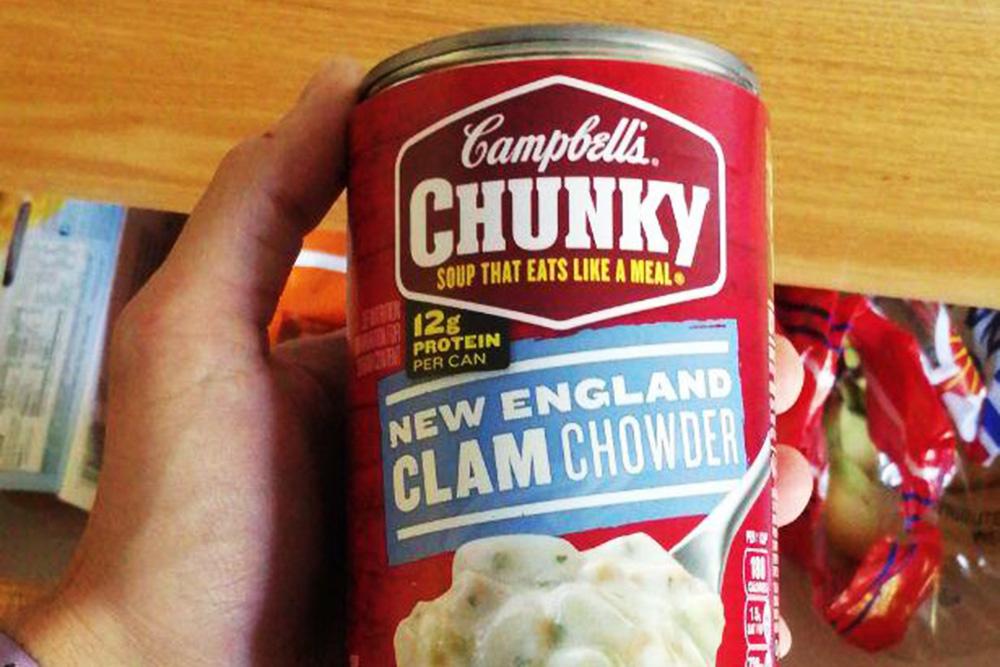 Мужу нравился крабовый суп из&nbsp;банки, который продают в&nbsp;супермаркетах. Он стоит 3$ (223<span class=ruble>Р</span>)