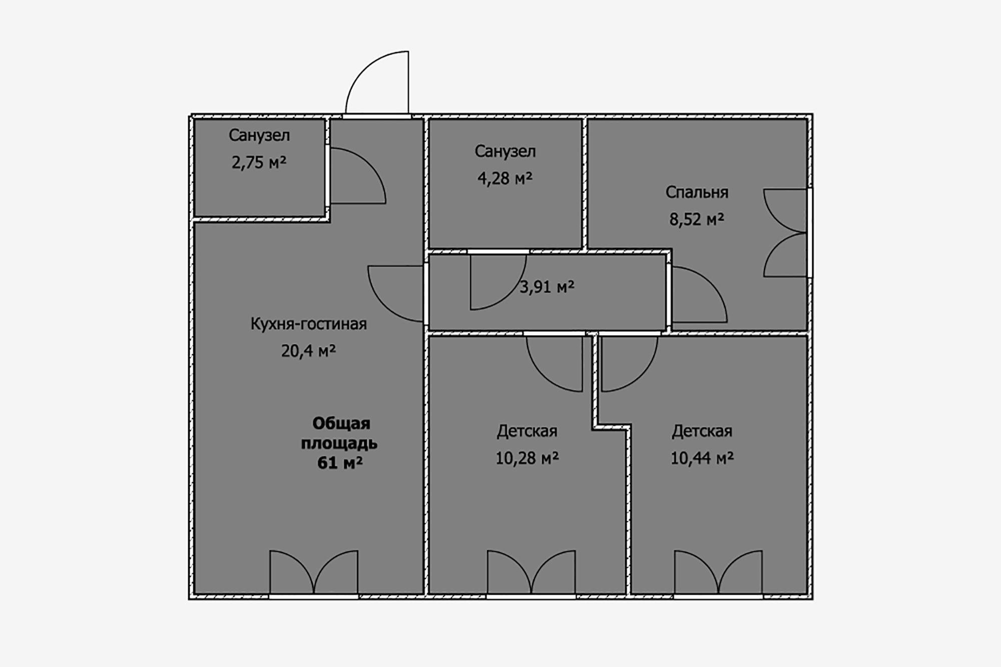 Квартира площадью 61м²изначально была двухкомнатной. Носемье сдвумя детьми было принципиально важно выделить пусть маленькие, ноотдельные спальни. Зато кухня-гостиная занимает треть площади, чтобы вся семья могла проводить время вместе
