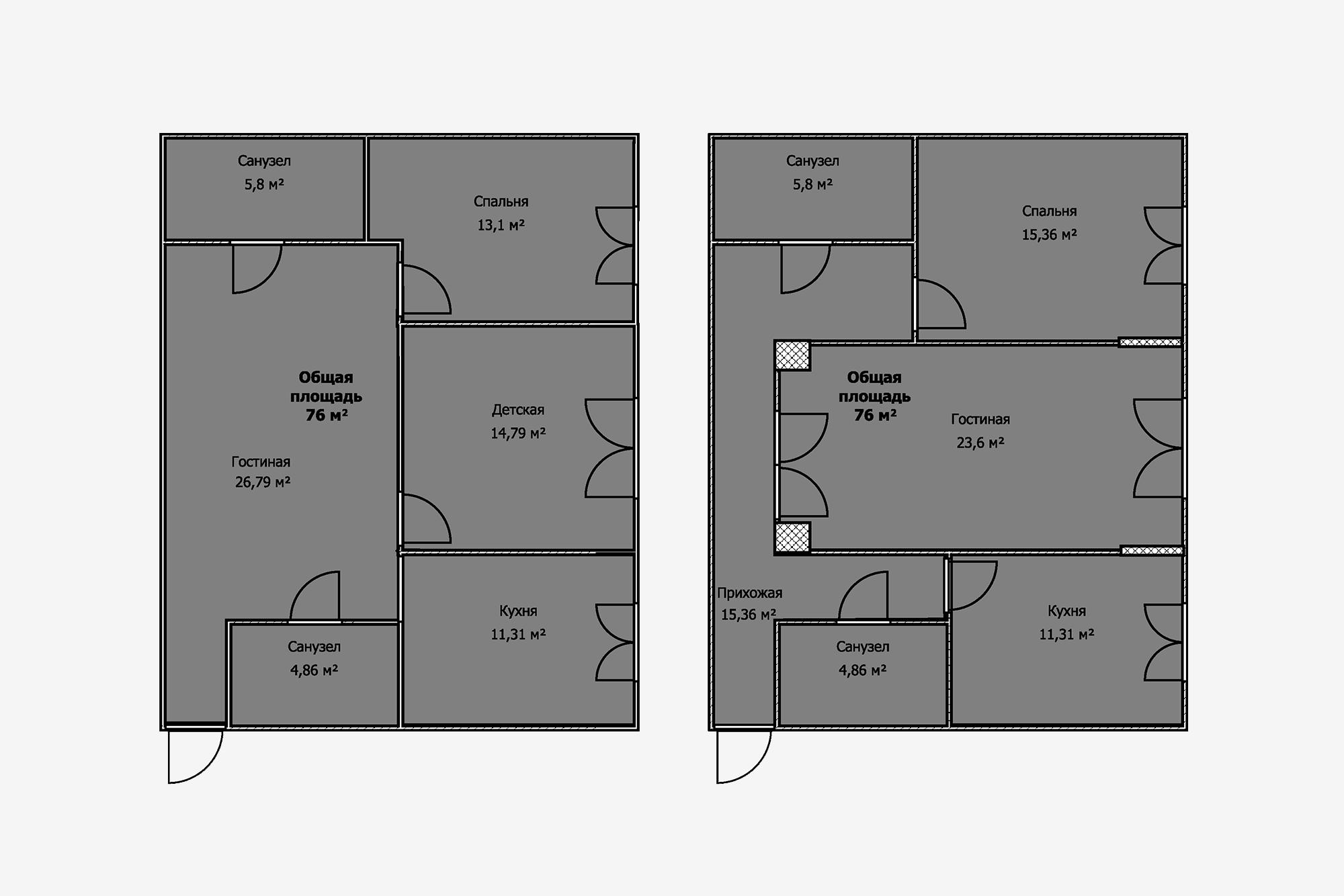 Втойже самой квартире можно сделать перепланировку: немного уменьшить спальню, обустроить наместе гостиной детскую, асаму гостиную перенести вкоридор, предварительно его расширив иобъединив скухней. Но, если возле окон есть несущие выступы, авкоридоре— несущие колонны, такая перепланировка уже недопустима