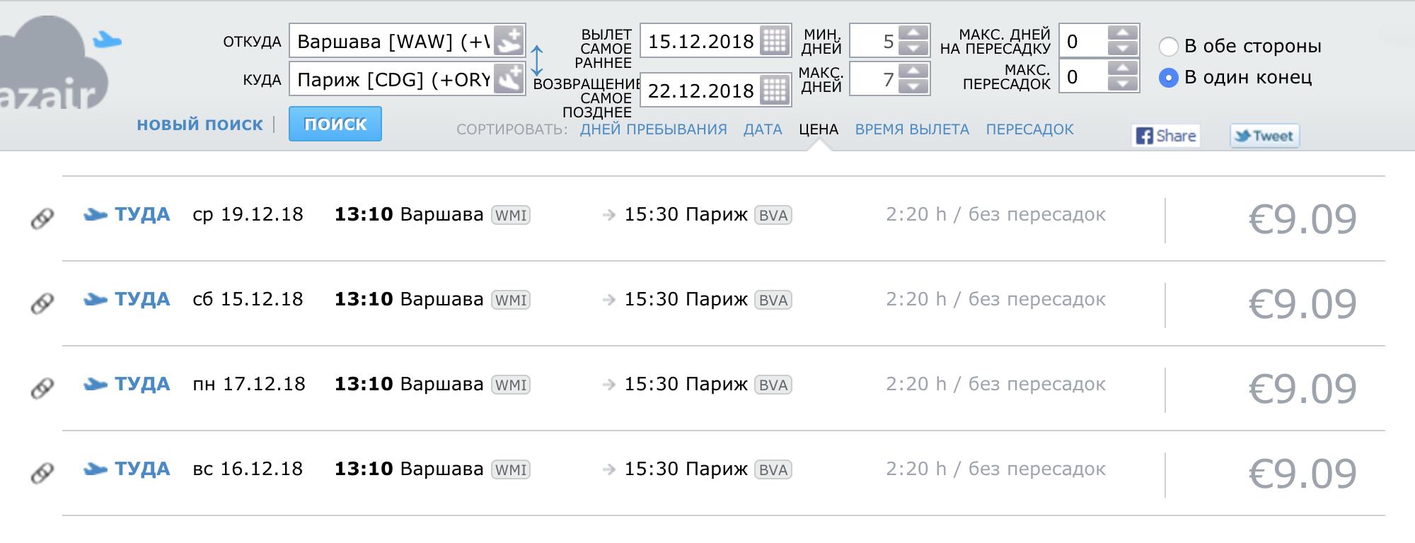 Билет Варшава — Париж в одну сторону можно купить за 9,09€