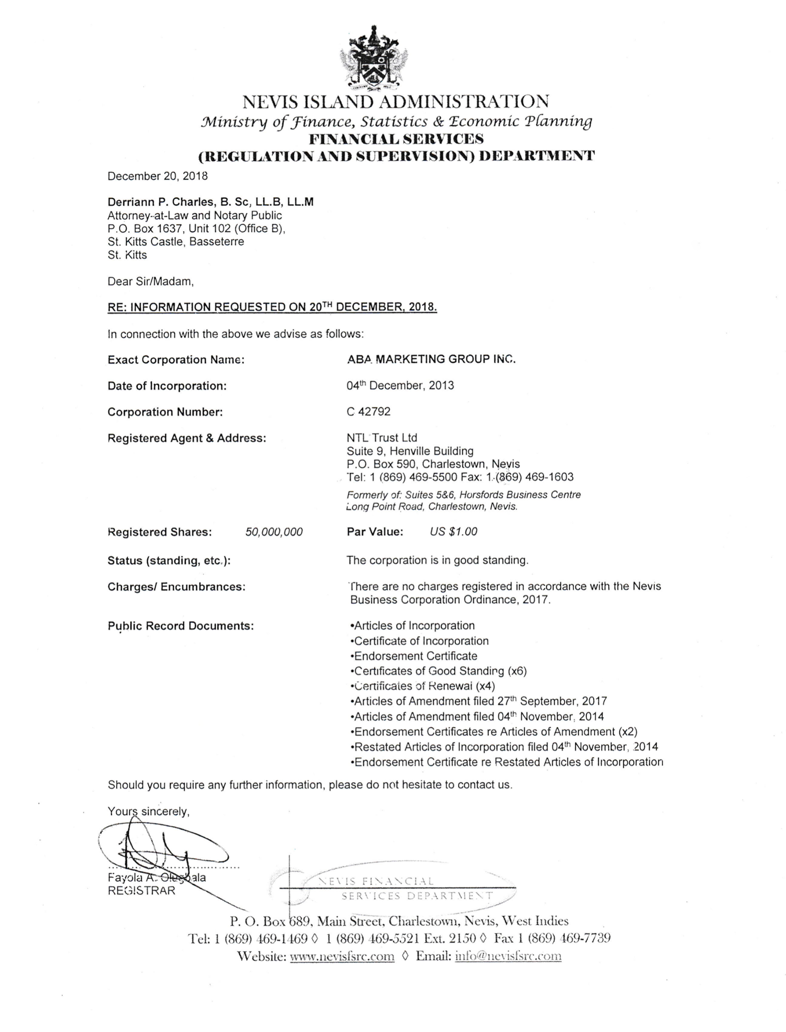 Выписка из реестра юрлиц Сент-Китс и Невис подтверждает реквизиты компании и ее уставный капитал