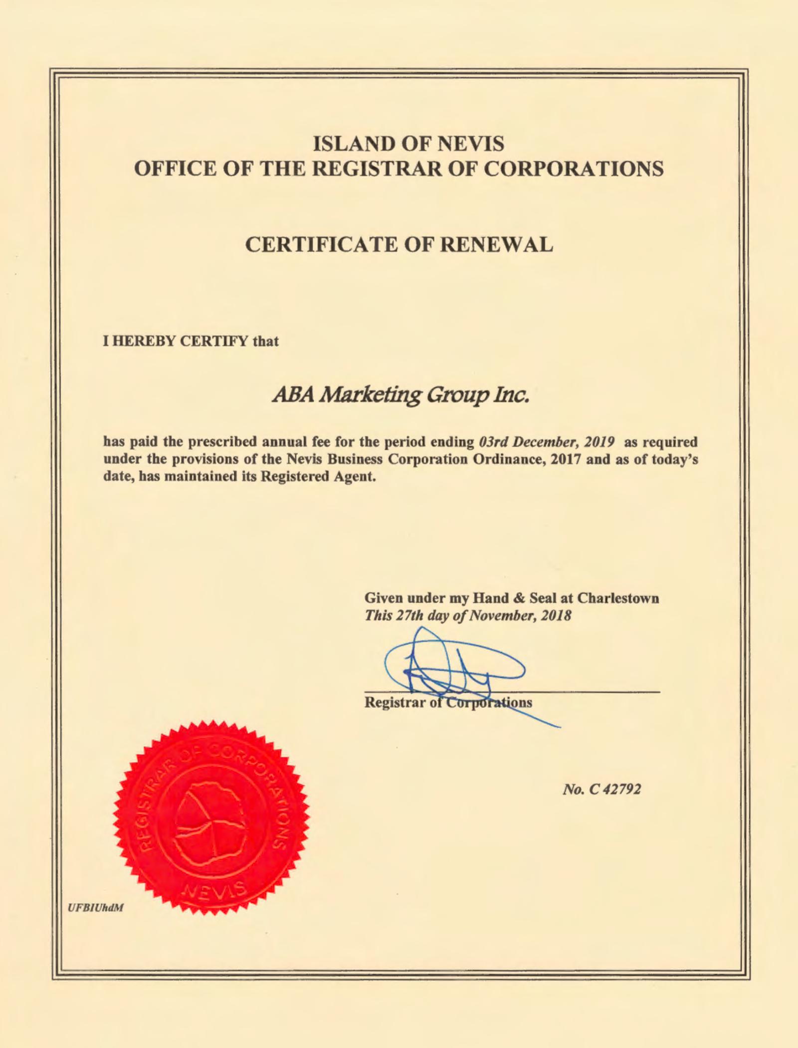 Сертификат продления регистрации — certificate of renewal — подтверждает, что компания ABAMarketing зарегистрирована по стандарту Nevis business corporation ordinance 2017 и что она продлила регистрацию до указанной в документе даты — в данном случае 3 декабря 2019 года