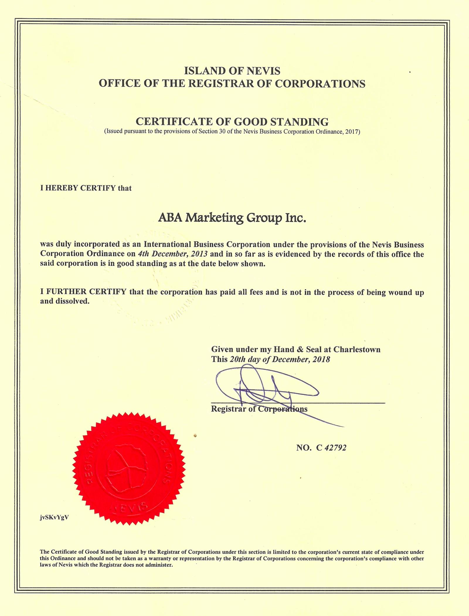 Сертификат благонадежности — certificate of good standing — подтверждает, что компания уплатила все пошлины и сборы, представила необходимые документы, не банкрот и не находится в состоянии слияния, поглощения или ликвидации