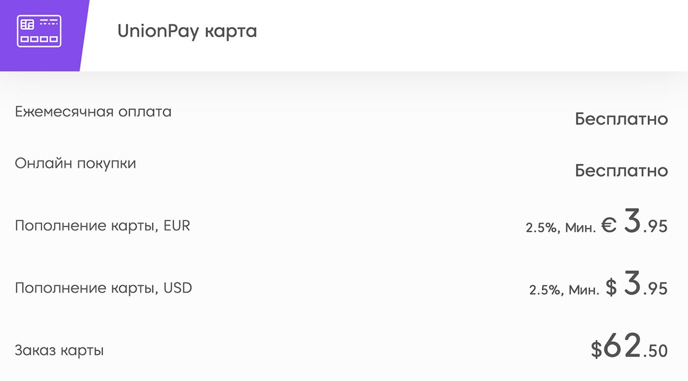 Тарифы карты UnionPay с официального сайта платежной системы